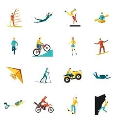Extreme Sports Flat Icons Set vector image