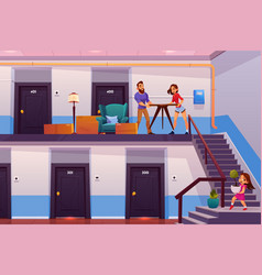 Family moving to new home cartoon concept vector