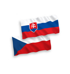 Flags czech republic and slovakia on a white vector