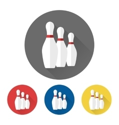 Flat bowling skittles icons vector image