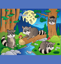Forest scene with various animals 8 vector