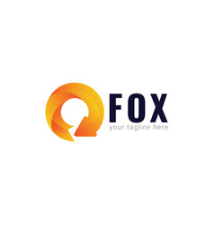 Fox logo gradient template design vector