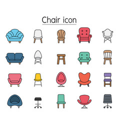 Front view chair icon set filled outline style vector