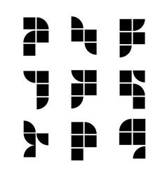 Geometric simplistic icons set abstract symbols vector image