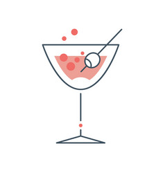 Glass with alcoholic cocktail vector
