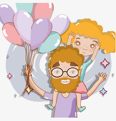 good father playing with her daughter and balloons vector image
