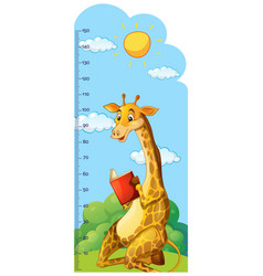 Growth chart ruler with giraffe reading book vector