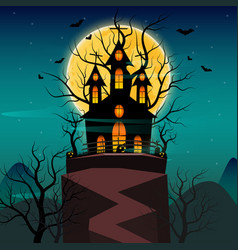 Halloween night background with pumpkin haunted vector