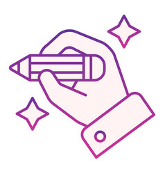 Hand with pencil flat icon hand drawing violet vector