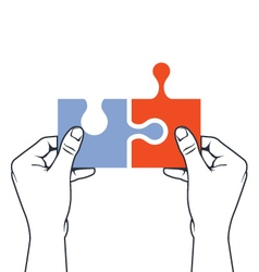 Hands joining puzzle piece - association vector