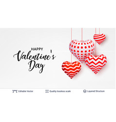 happy valentines day text and hearts on white vector image