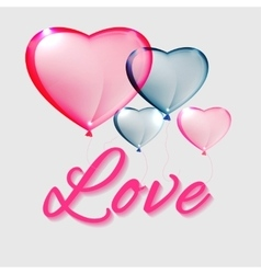 Hearts balloons and letters vector