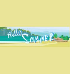 hello summer beach vacation sand tropical seaside vector image