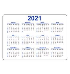 Horizontal blue pocket calendar on 2021 year vector