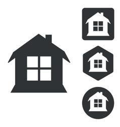 House icon set monochrome vector