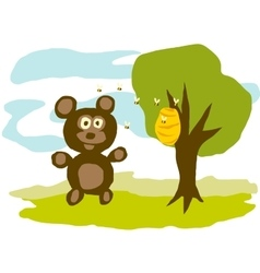 Hungry Bear Eats Honey vector image