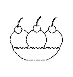ice cream glassware with three balls and berry vector image