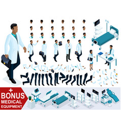 isometric doctor african american goes create vector image