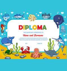Kids diploma with underwater animals award border vector