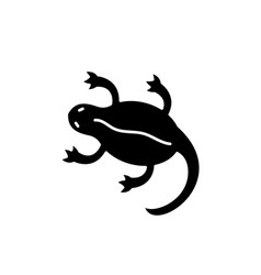 lizard black icon sign on isolated vector image