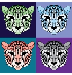 Low poly lined cheetah set vector image
