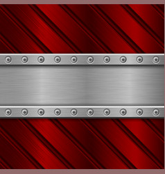 Metal brushed background with red stripes vector