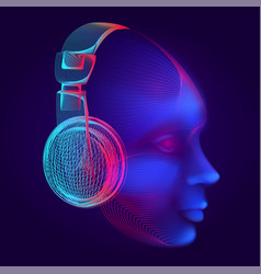 neon cyber dj or robot head with outline vector image