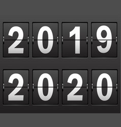 new years date 2019 2020 numbers on scoreboard vector image