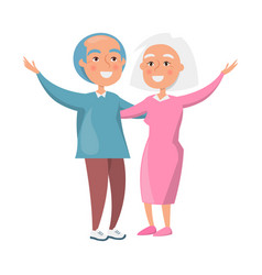 Old couple spending time together isolated white vector