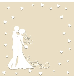 Paper silhouette of kissing bride and groom vector