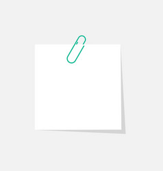 Paper sticker with paperclip isolated on grey vector
