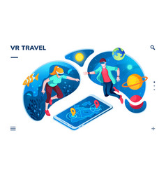 People using virtual reality or vr for travel vector