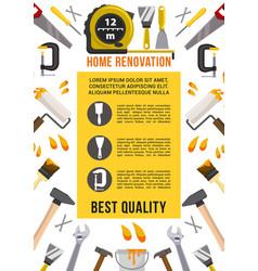 Poster house renovation repair work tools vector