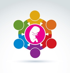 Pregnancy and abortion idea baby embryo symbol of vector