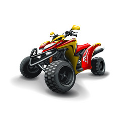Red quad bike inscription and flame on white vector