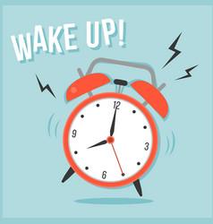 Ringing alarm clock and wake up head line vector