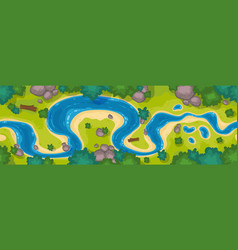 river top view curve riverbed with blue water vector image