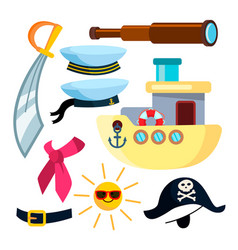 sailor icons pirate ship sea isolated flat vector image