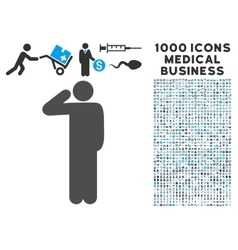 Salute Pose Icon with 1000 Medical Business vector