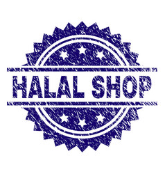 Scratched textured halal shop stamp seal vector