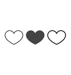 set flat heart vector image