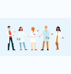 set gesticulating medical doctors cartoon style vector image