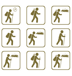 Set of hiking icons vector