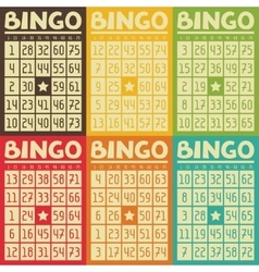 Set of retro bingo or lottery cards for game vector image