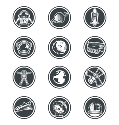 Set of round badges space vector image
