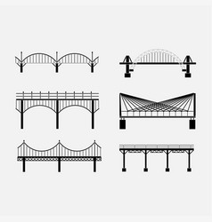 set of silhouette bridge icons bridges suspension vector image