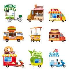 set of street vehicles buses minivans trucks vector image