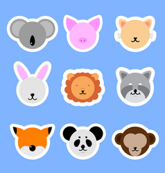 set template animals stickers cat rabbit pig vector image