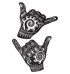 Shaka surf hand sign vector