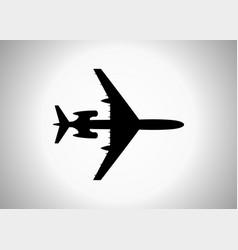Silhouette a passenger plane icon vector